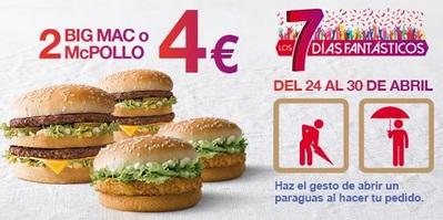 2 Big Mac o 2 McPollo por 4 euros