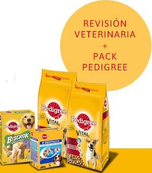lote de productos Pedigree + consulta veterinaria