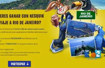 Promoción Nesquick: Viajes a Río de Janeiro para cuatro personas gratis